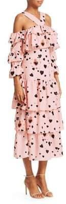 DAY Birger et Mikkelsen Borgo de Nor Sandra Heart Polka Dot Halter Tiered A-Line Dress