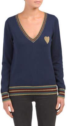 Cashmere Blend Deep V-neck Sweater