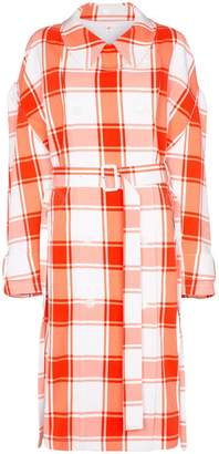 pushBUTTON check-print puff-sleeve trench coat