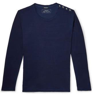 Balmain Button-Detailed Cotton T-Shirt - Navy