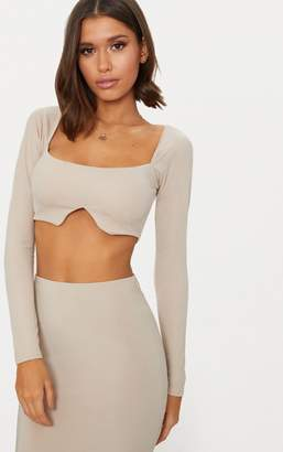 PrettyLittleThing Nude Crepe Square Neck Long Sleeve Crop Top