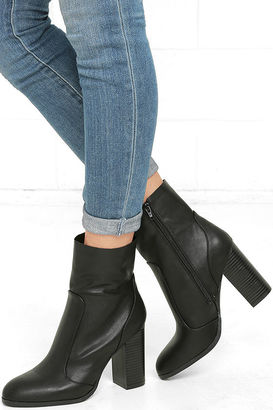 So In Black Mid-Calf High Heel Boots $39 thestylecure.com