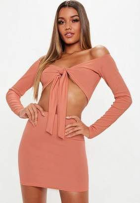 Missguided Mini Skirt And Tie Front Top Co Ord