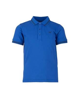 81c06714 Armani Junior Contrast Striped Collar Polo Colour: ROYAL BLUE, Size: A