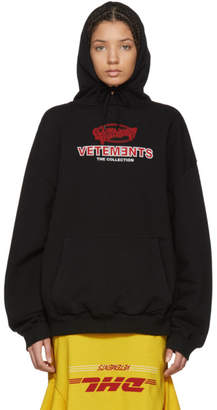 Vetements Black Graphic Logo Oversized Hoodie