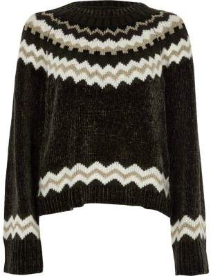 River Island Womens Dark grey Fairisle chenille sweater