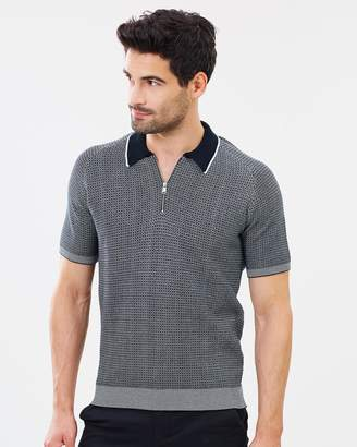 Ben Sherman The Micro Gingham Knit Zip Neck Polo