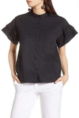 Halogen Ruffle Sleeve Stretch Cotton Blend Blouse (Petite)