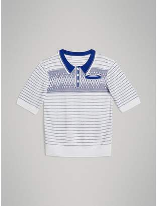 Burberry Stripe and Diamond Stitch Knitted Polo Shirt , Size: 8Y, White
