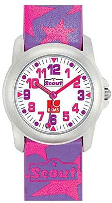 Scout girls' wrist watch, analogue quartz, faux leather 280307000