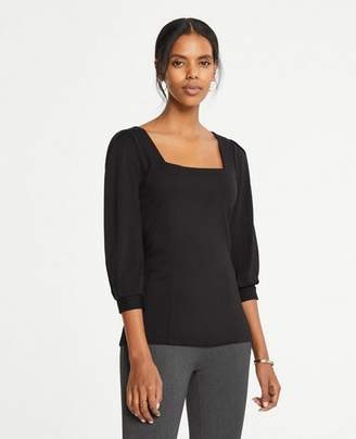 Ann Taylor Square Neck Blouson Sleeve Top