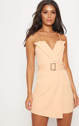 PrettyLittleThing Camel Tux Detail Belted Wrap Bodycon Dress