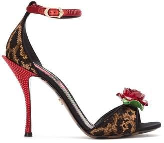 Dolce & Gabbana rose appliqué sandals