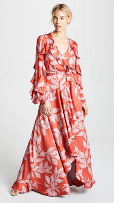 PatBO Leaf Print Ruffle Sleeve Maxi Wrap Dress