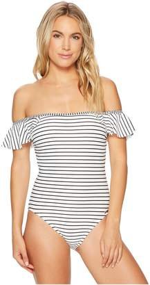Vince Camuto Blossom Stripes Ruffle Off the Shoulder One-Piece Swimsuit w/ Removable Soft Cups Strap Women's Swimsuits One Piece