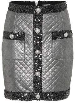 Balmain Metallic quilted miniskirt