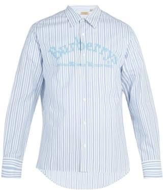 Burberry Logo Embroidered Striped Cotton Shirt - Mens - Light Blue