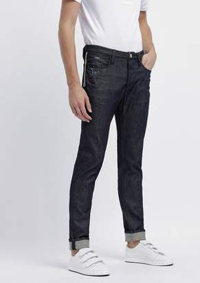 Emporio Armani Slim-Fit Jeans In Special Stretch Cotton Denim With Splashes Of Color