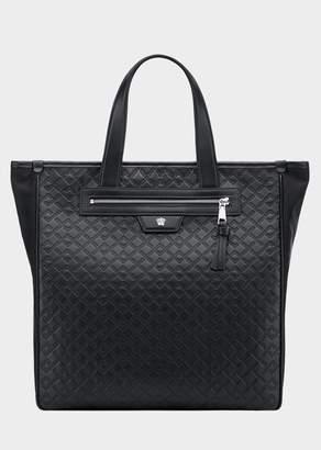 Versace Greca Kratos Leather Tote Bag