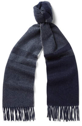 Co Begg & Vigo Fringed Checked Wool And Cashmere-Blend Scarf