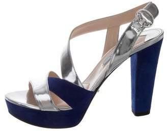 Prada Bicolor Platform Sandals