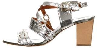 Lanvin Embossed Leather Sandals
