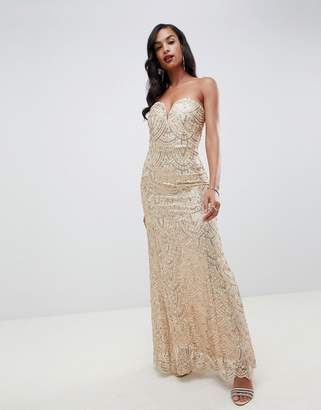 ee2c86d1 TFNC patterned sequin bandeau maxi dress in gold
