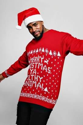 boohoo Big & Tall Filthy Animal Christmas Jumper
