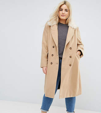 Brave Soul Plus Ashwich Double Breasted Coat With Faux Fur Collar