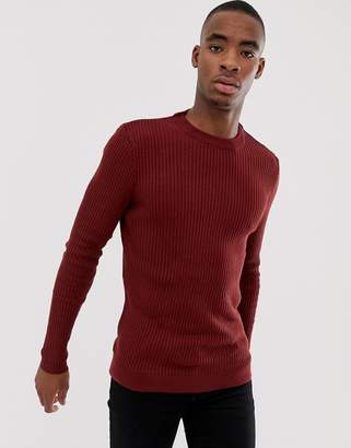 Bershka slim ribbed sweater in red with crew neck