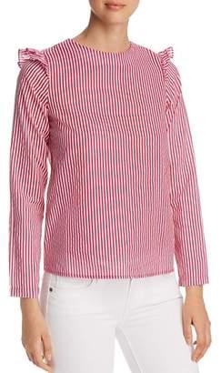 Vero Moda Maji Striped Ruffle-Trimmed Top