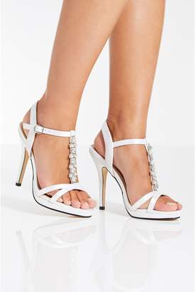 Quiz White Satin Pearl Heel Bridal Sandals