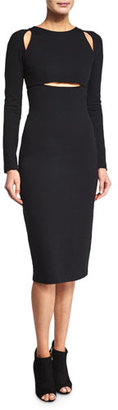 T by Alexander Wang Ponte Cutout Sheath Dress, Black $395 thestylecure.com
