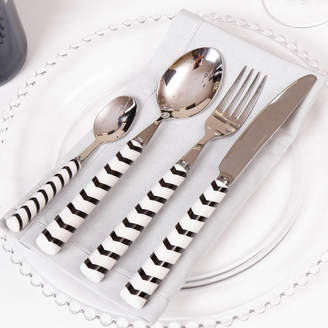 Dibor Contemporary Black And White Chevron Cutlery Set
