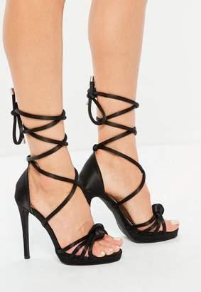 Missguided Black Knotted Front Platform Sandals