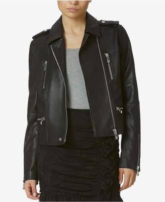 Avec Les Filles Stretch Leather Moto Jacket $595 thestylecure.com