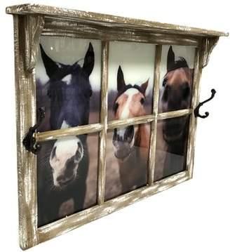 Gracie Oaks Emi Nosey Horses Wood Window Wall Shelf with Hooks Gracie Oaks