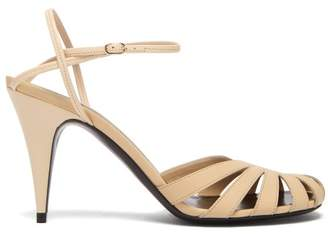 The Row Tango Cut Out Leather Sandals - Womens - Cream