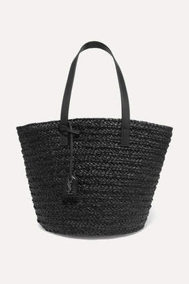 Saint Laurent Panier Medium Leather-trimmed Raffia Tote - Black