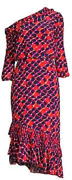 Saloni Women's Lexie Asymmetric Printed Ruffled Midi Dress