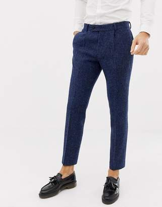 Asos DESIGN wedding slim suit pants in 100% wool Harris Tweed in navy twill