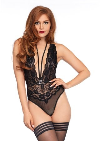 Women's Floral Lace Deep-v Teddy with Cross Over Tie Back, Burgundy, MED/LGE
