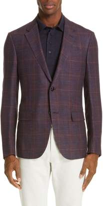 Ermenegildo Zegna Milano Trim Fit Plaid Wool Blend Sport Coat