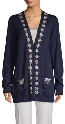 Oscar de la Renta Embellished Wool & Silk Sweater