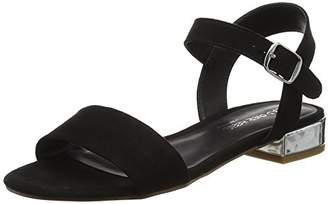 Head Over Heels Women's Niccy Ankle Strap Sandals, (Black-Micro_Fibre), 39 EU