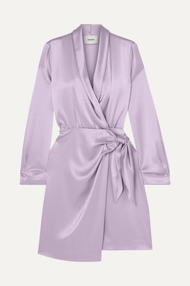 Siwa Nanushka Satin Wrap Dress - Lilac