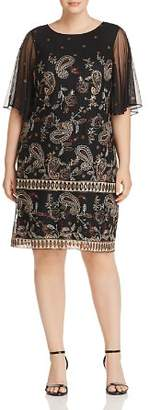 Adrianna Papell Plus Paisley Embroidered Mesh Dress