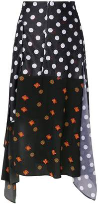 J.W.Anderson polka dot and floral print skirt