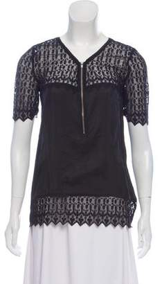 The Kooples Silk Mesh-Accented Top w/ Tags