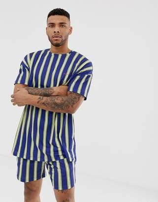 N. Liquor Poker oversized t-shirt in navy stripe print